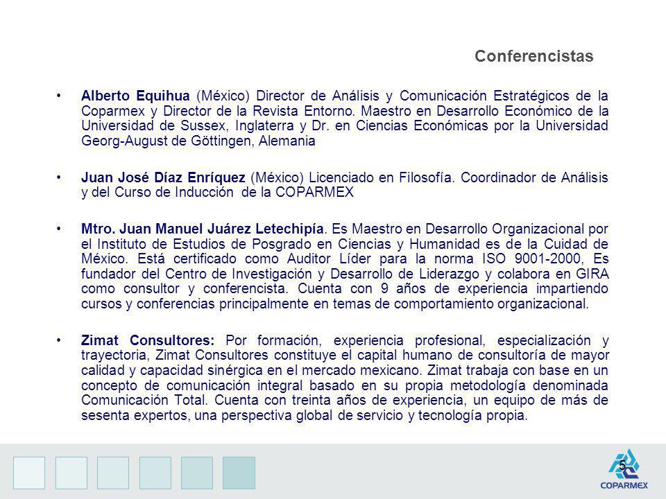 5 Conferencistas Alberto Equihua (México) Director de Análisis y Comunicación Estratégicos de la Coparmex y Director de la Revista Entorno. Maestro en