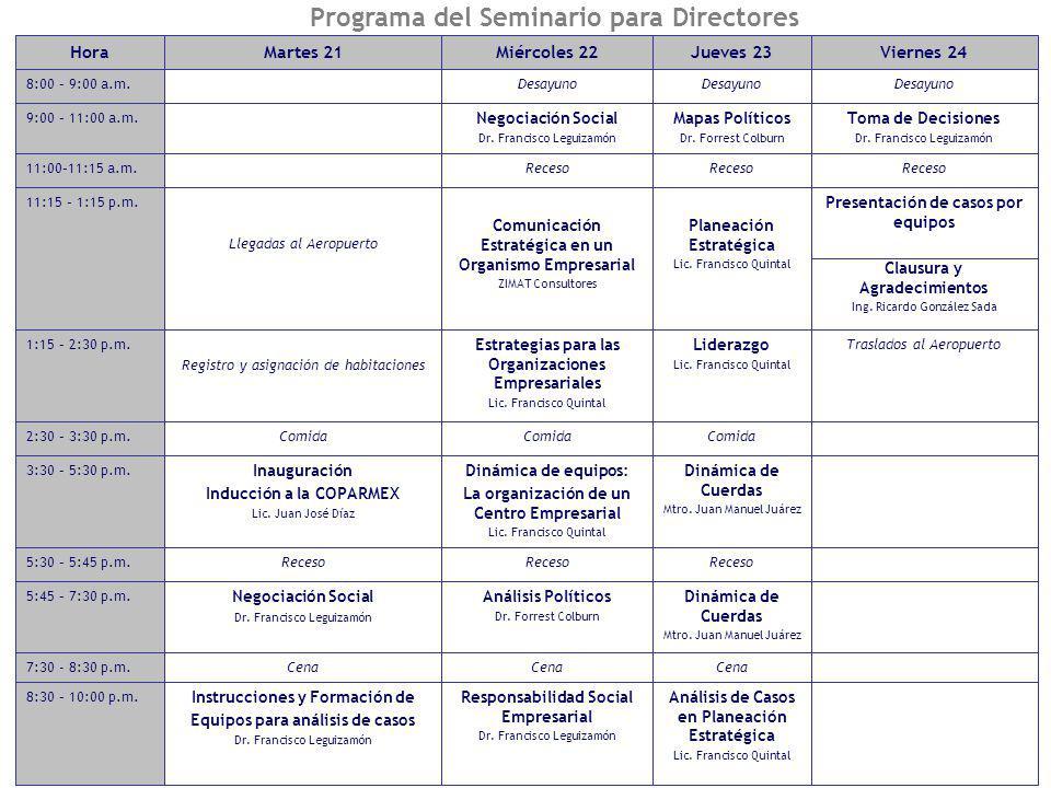 7 Programa del Seminario para Directores Comida 2:30 – 3:30 p.m. Análisis de Casos en Planeación Estratégica Lic. Francisco Quintal Responsabilidad So