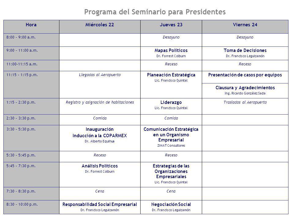 8 Programa del Seminario para Presidentes Comida 2:30 – 3:30 p.m. Negociación Social Dr. Francisco Leguizamón Responsabilidad Social Empresarial Dr. F