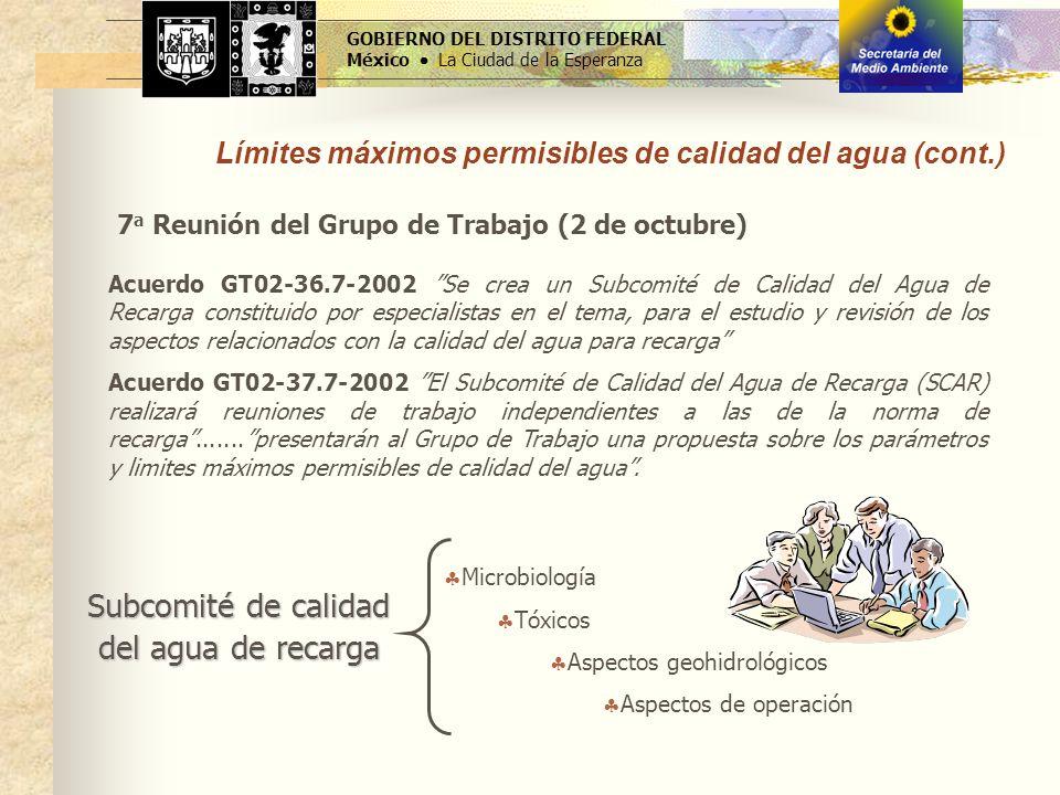 GOBIERNO DEL DISTRITO FEDERAL México La Ciudad de la Esperanza Límites máximos permisibles de calidad del agua (cont.) Subcomité de calidad del agua d