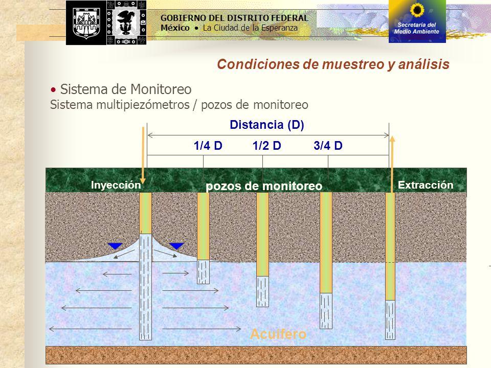 Sistema de Monitoreo Sistema multipiezómetros / pozos de monitoreo GOBIERNO DEL DISTRITO FEDERAL México La Ciudad de la Esperanza Distancia (D) Acuífe