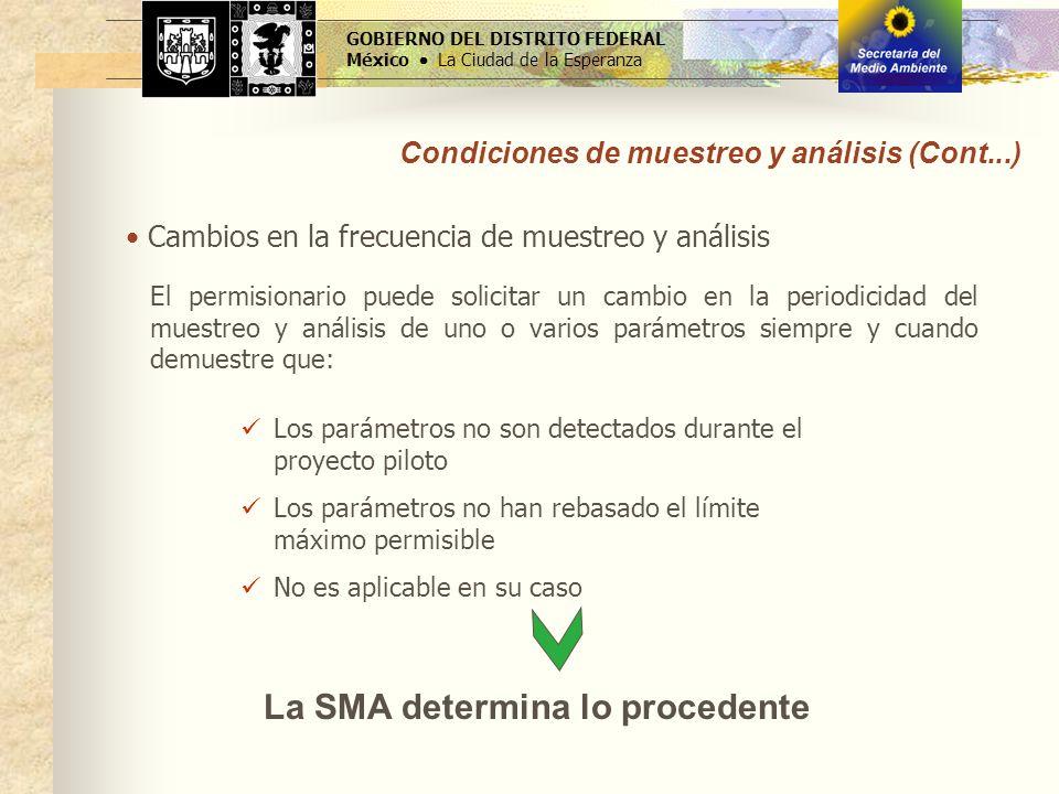 GOBIERNO DEL DISTRITO FEDERAL México La Ciudad de la Esperanza La SMA determina lo procedente Cambios en la frecuencia de muestreo y análisis Condicio