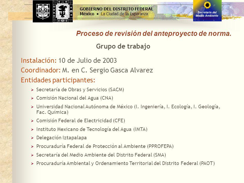 Proceso de revisión del anteproyecto de norma. Instalación: 10 de Julio de 2003 Coordinador: M. en C. Sergio Gasca Alvarez GOBIERNO DEL DISTRITO FEDER