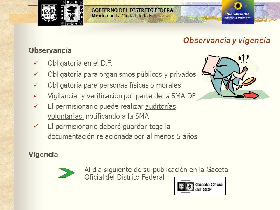 GOBIERNO DEL DISTRITO FEDERAL México La Ciudad de la Esperanza Observancia Obligatoria en el D.F. Obligatoria para organismos públicos y privados Obli