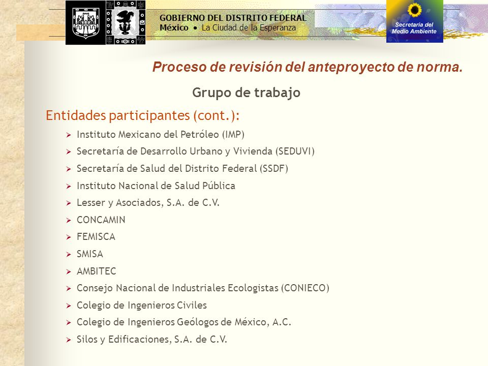 Proceso de revisión del anteproyecto de norma. GOBIERNO DEL DISTRITO FEDERAL México La Ciudad de la Esperanza Grupo de trabajo Entidades participantes