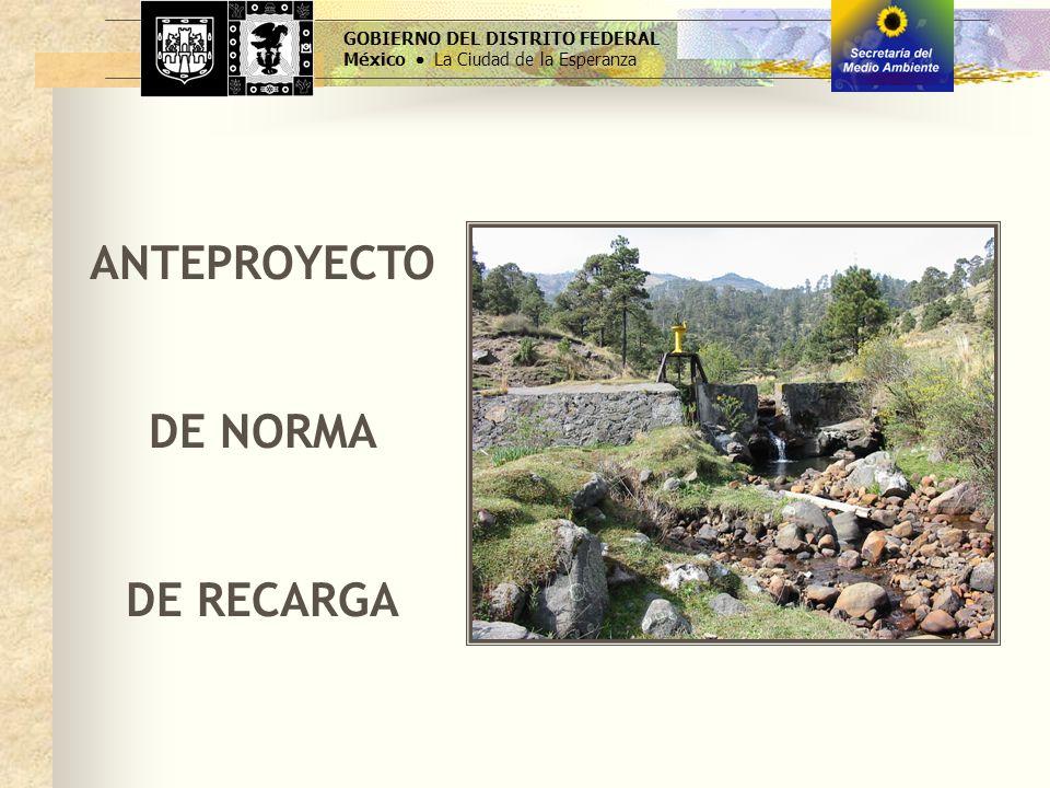 GOBIERNO DEL DISTRITO FEDERAL México La Ciudad de la Esperanza ANTEPROYECTO DE NORMA DE RECARGA