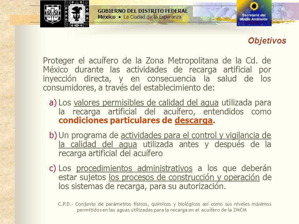 GOBIERNO DEL DISTRITO FEDERAL México La Ciudad de la Esperanza Objetivos Proteger el acuífero de la Zona Metropolitana de la Cd. de México durante las