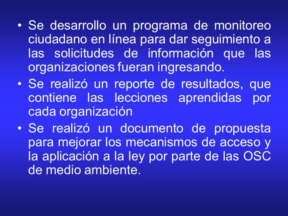 Se desarrollo un programa de monitoreo ciudadano en línea para dar seguimiento a las solicitudes de información que las organizaciones fueran ingresando.