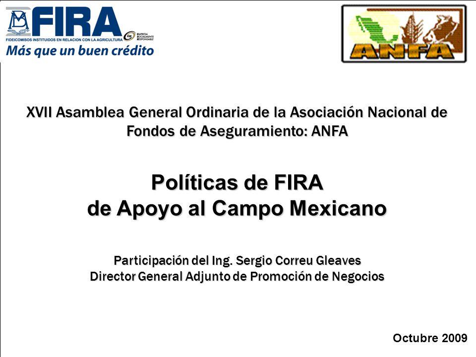 Octubre 2009 Políticas de FIRA de Apoyo al Campo Mexicano XVII Asamblea General Ordinaria de la Asociación Nacional de Fondos de Aseguramiento: ANFA P