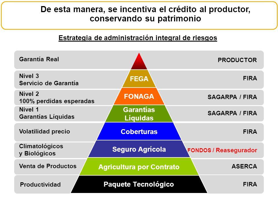 Estrategia de administración integral de riesgos De esta manera, se incentiva el crédito al productor, conservando su patrimonio PRODUCTOR FIRA SAGARP