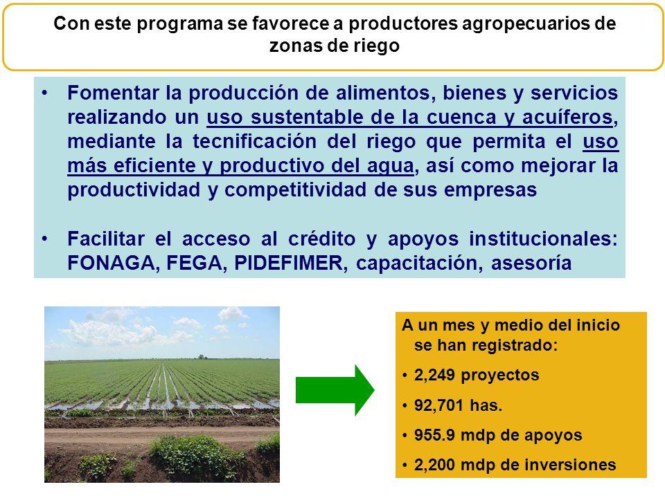 Fomentar la producción de alimentos, bienes y servicios realizando un uso sustentable de la cuenca y acuíferos, mediante la tecnificación del riego qu