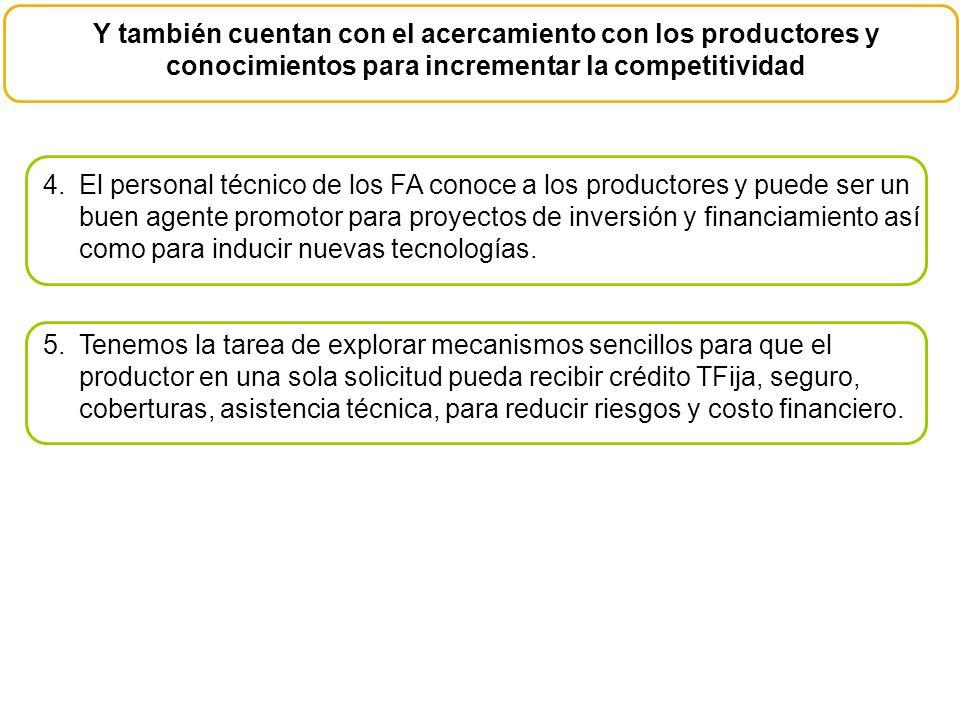 Y también cuentan con el acercamiento con los productores y conocimientos para incrementar la competitividad 4.El personal técnico de los FA conoce a