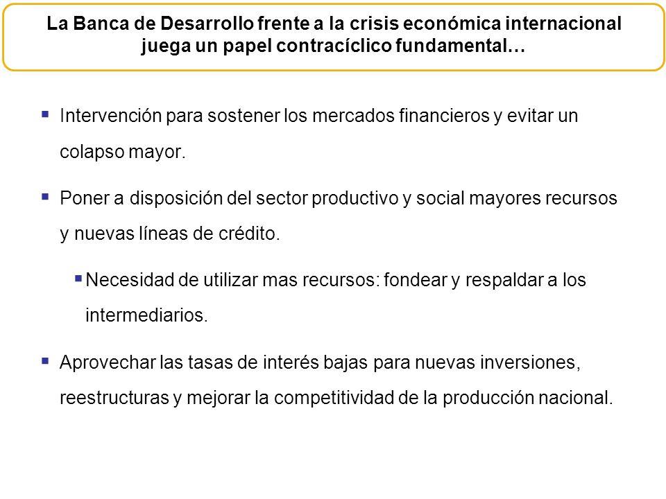 Intervención para sostener los mercados financieros y evitar un colapso mayor. Poner a disposición del sector productivo y social mayores recursos y n