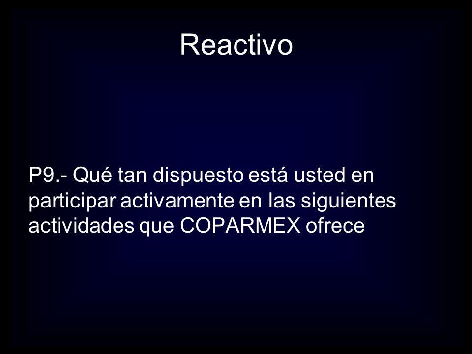 Reactivo P9.- Qué tan dispuesto está usted en participar activamente en las siguientes actividades que COPARMEX ofrece