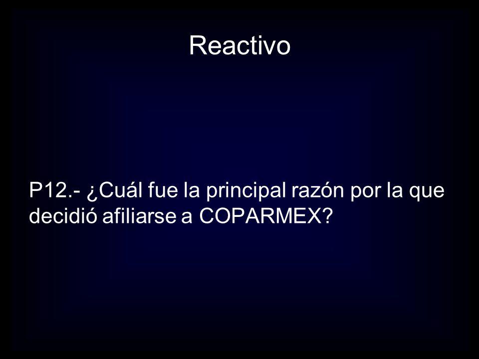 Reactivo P12.- ¿Cuál fue la principal razón por la que decidió afiliarse a COPARMEX