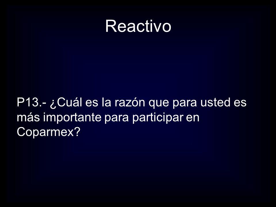 Reactivo P13.- ¿Cuál es la razón que para usted es más importante para participar en Coparmex