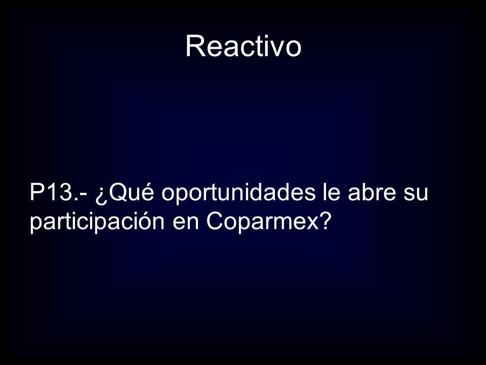Reactivo P13.- ¿Qué oportunidades le abre su participación en Coparmex