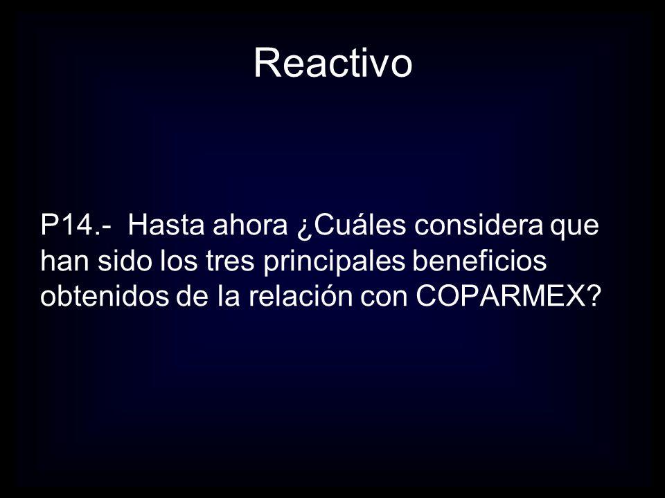 Reactivo P14.- Hasta ahora ¿Cuáles considera que han sido los tres principales beneficios obtenidos de la relación con COPARMEX