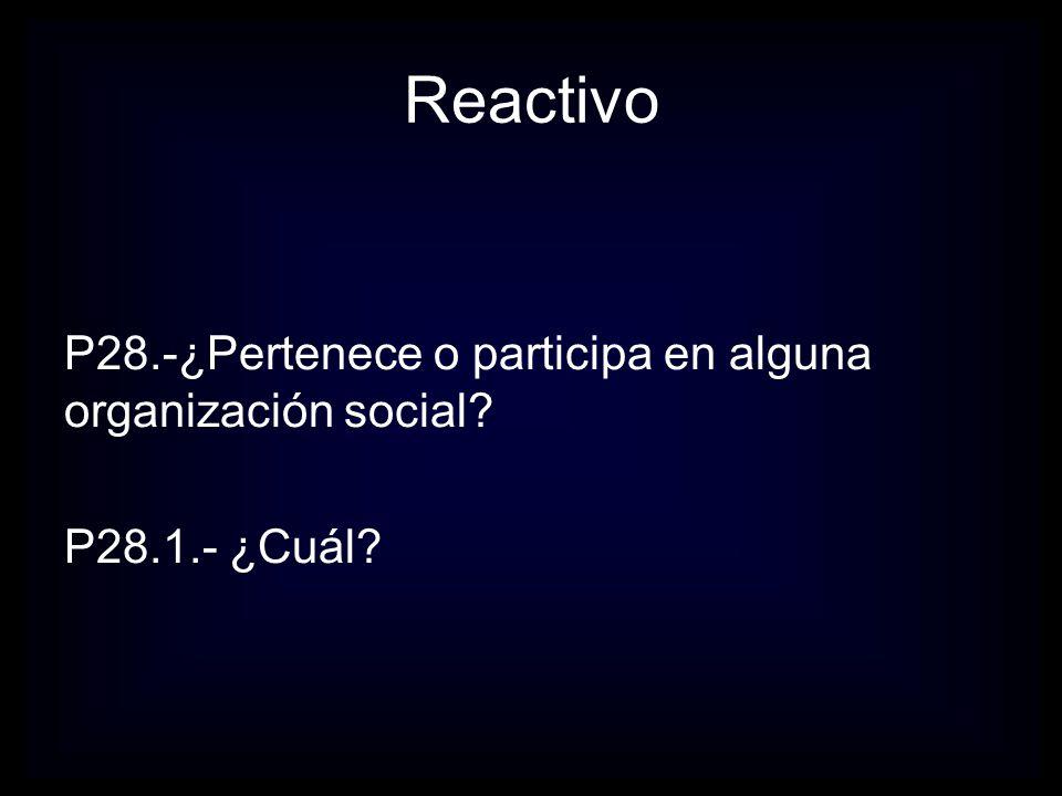 Reactivo P28.-¿Pertenece o participa en alguna organización social P28.1.- ¿Cuál
