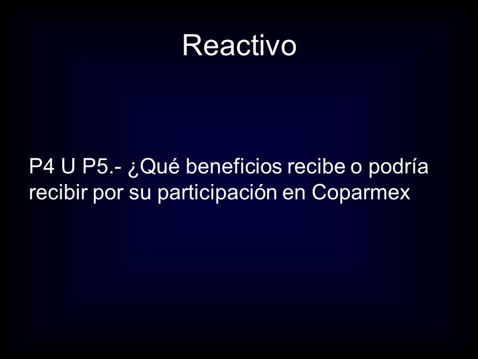 P4 U P5.- ¿Qué beneficios recibe o podría recibir por su participación en Coparmex Reactivo