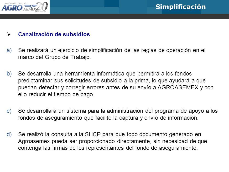 Canalización de subsidios a)Se realizará un ejercicio de simplificación de las reglas de operación en el marco del Grupo de Trabajo. b)Se desarrolla u