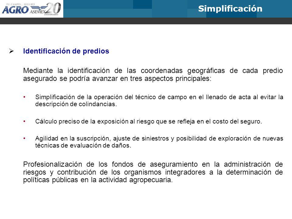 Simplificación Identificación de predios Mediante la identificación de las coordenadas geográficas de cada predio asegurado se podría avanzar en tres