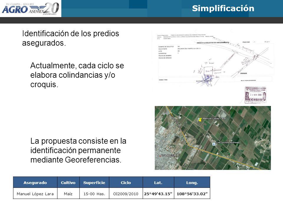 Simplificación Identificación de los predios asegurados.