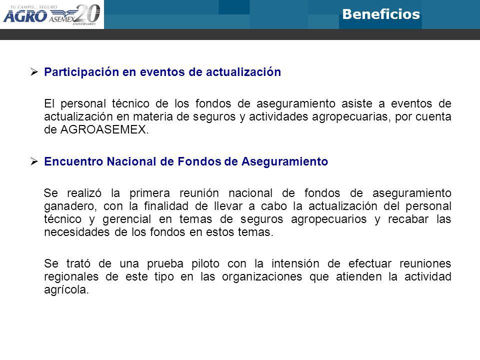 Participación en eventos de actualización El personal técnico de los fondos de aseguramiento asiste a eventos de actualización en materia de seguros y actividades agropecuarias, por cuenta de AGROASEMEX.
