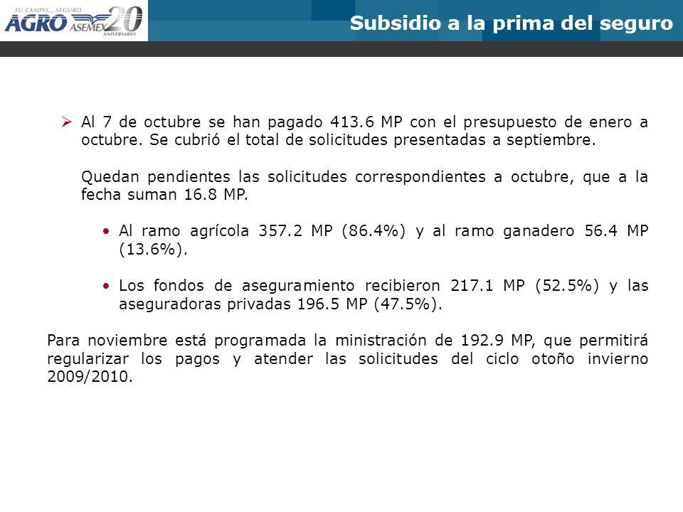 Subsidio a la prima del seguro Al 7 de octubre se han pagado 413.6 MP con el presupuesto de enero a octubre. Se cubrió el total de solicitudes present