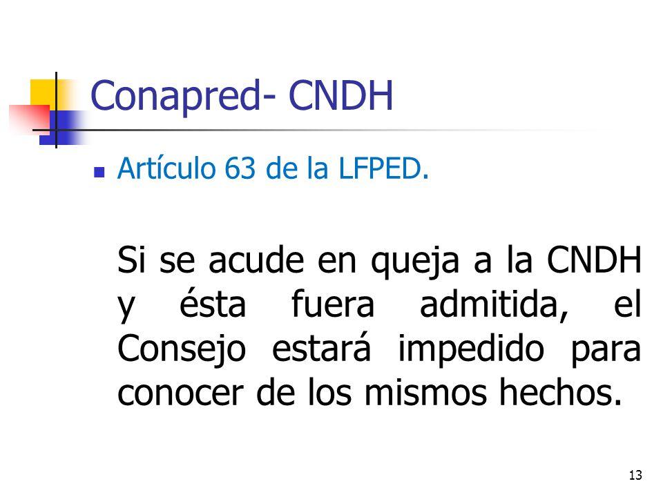 Conapred- CNDH Artículo 63 de la LFPED. Si se acude en queja a la CNDH y ésta fuera admitida, el Consejo estará impedido para conocer de los mismos he