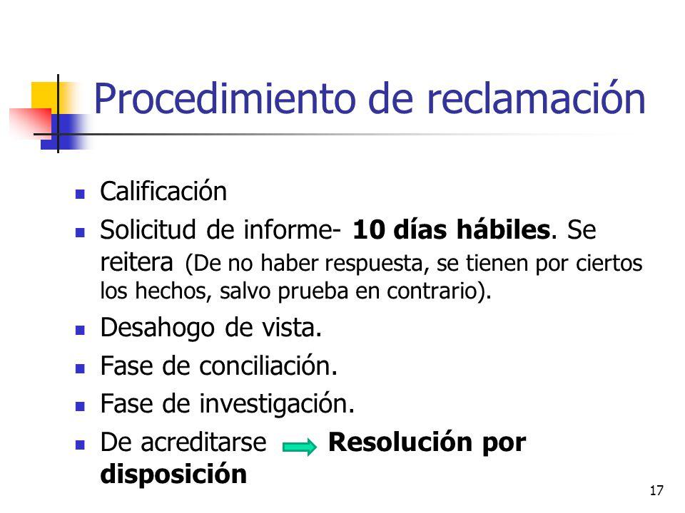 Procedimiento de reclamación Calificación Solicitud de informe- 10 días hábiles. Se reitera (De no haber respuesta, se tienen por ciertos los hechos,