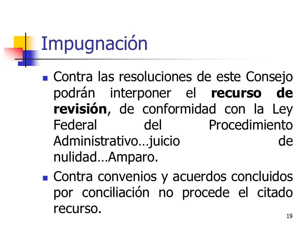 Impugnación Contra las resoluciones de este Consejo podrán interponer el recurso de revisión, de conformidad con la Ley Federal del Procedimiento Admi