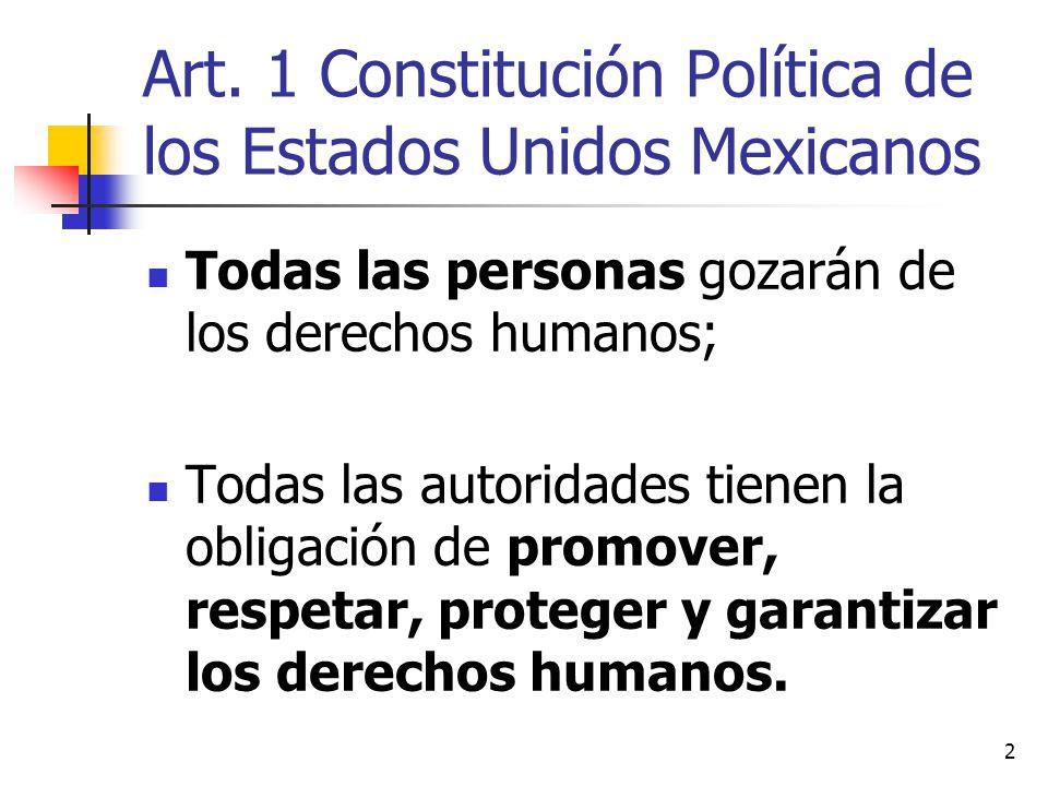 Art. 1 Constitución Política de los Estados Unidos Mexicanos Todas las personas gozarán de los derechos humanos; Todas las autoridades tienen la oblig