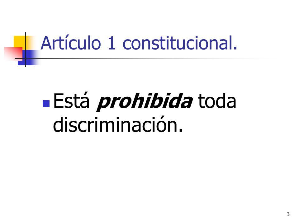 Artículo 1 constitucional. Está prohibida toda discriminación. 3