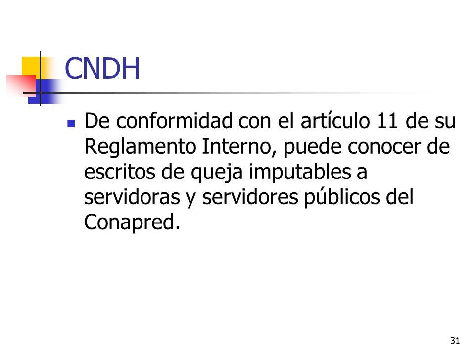 CNDH De conformidad con el artículo 11 de su Reglamento Interno, puede conocer de escritos de queja imputables a servidoras y servidores públicos del