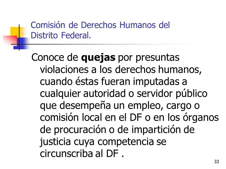 33 Comisión de Derechos Humanos del Distrito Federal. Conoce de quejas por presuntas violaciones a los derechos humanos, cuando éstas fueran imputadas