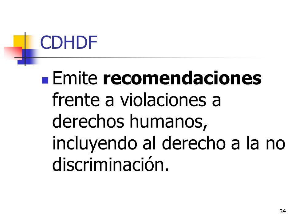 CDHDF Emite recomendaciones frente a violaciones a derechos humanos, incluyendo al derecho a la no discriminación. 34