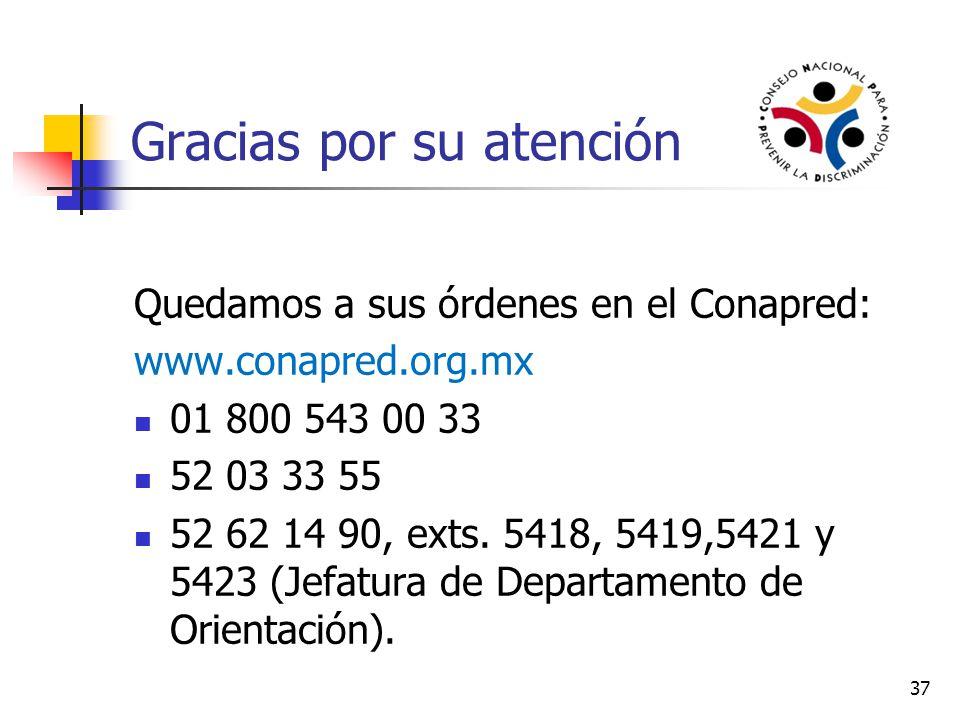 37 Gracias por su atención Quedamos a sus órdenes en el Conapred: www.conapred.org.mx 01 800 543 00 33 52 03 33 55 52 62 14 90, exts. 5418, 5419,5421