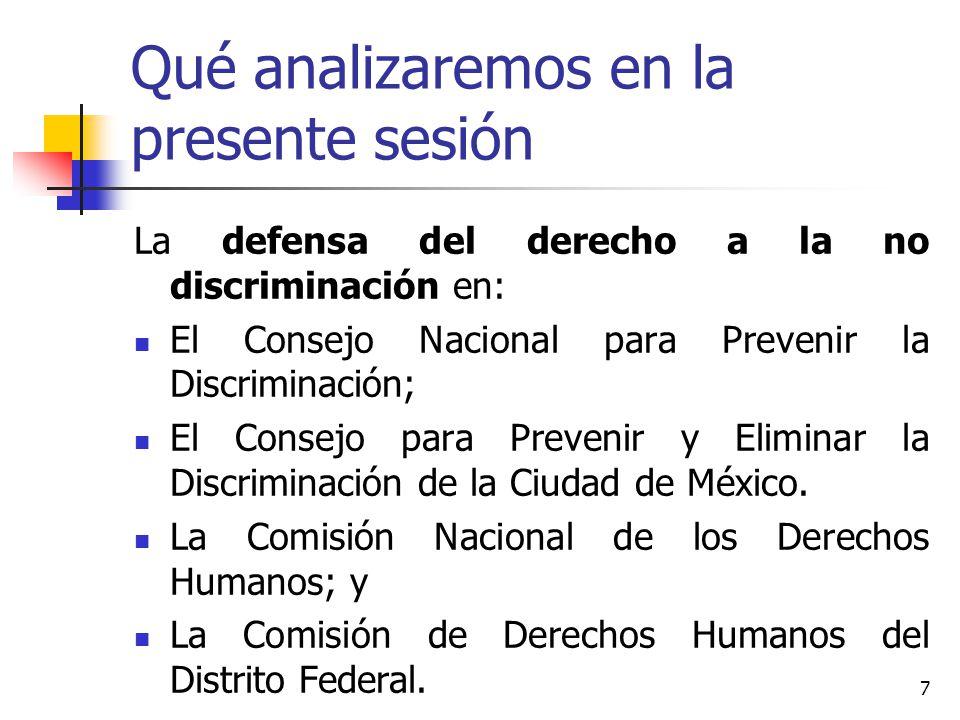 Qué analizaremos en la presente sesión La defensa del derecho a la no discriminación en: El Consejo Nacional para Prevenir la Discriminación; El Conse