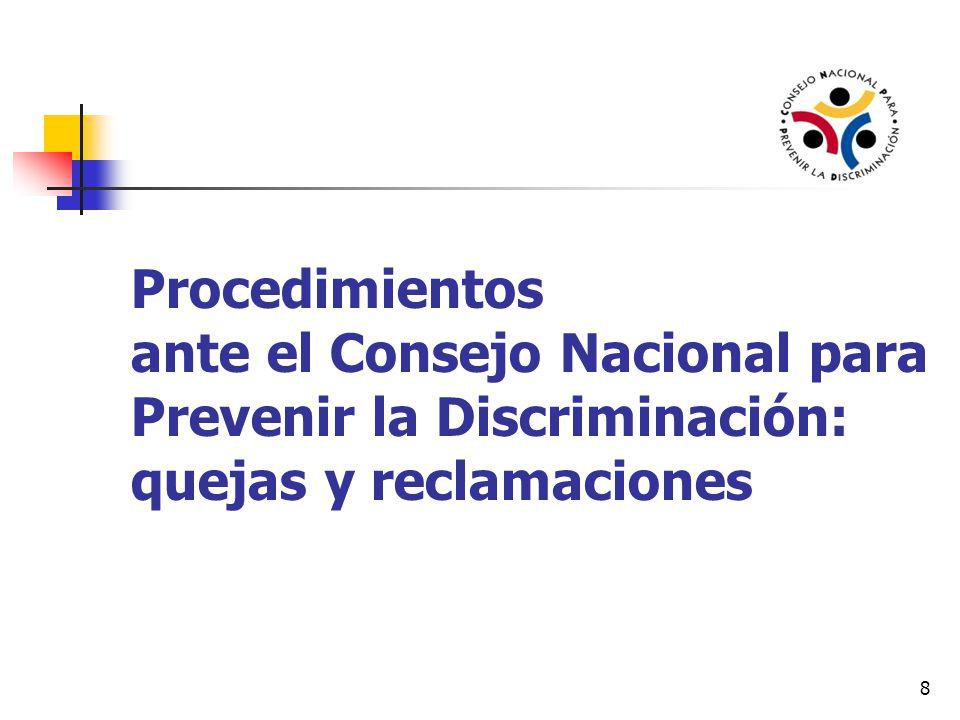 Procedimientos de defensa en Conapred Quejas: por presuntas conductas de discriminación imputables a particulares.