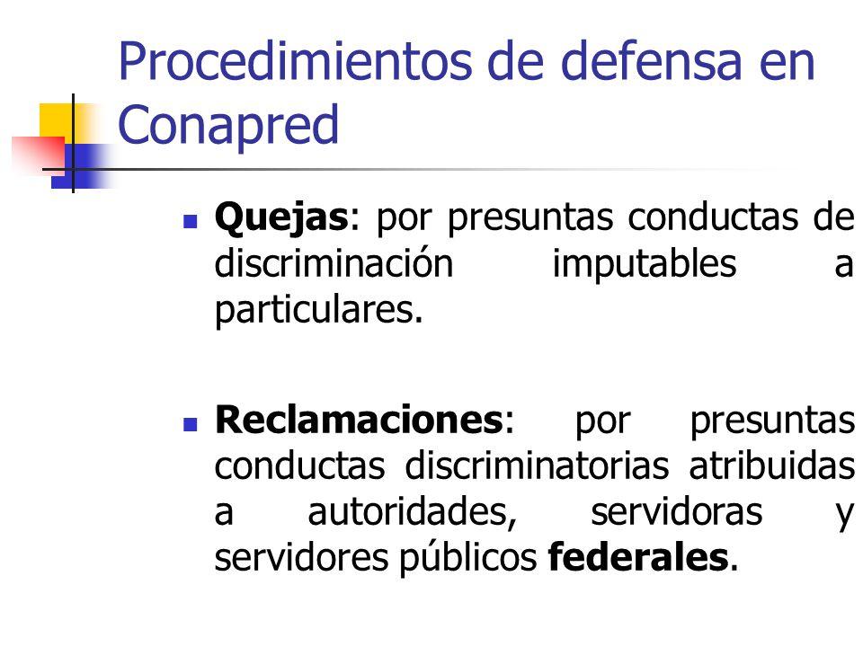 Procedimientos de defensa en Conapred Quejas: por presuntas conductas de discriminación imputables a particulares. Reclamaciones: por presuntas conduc
