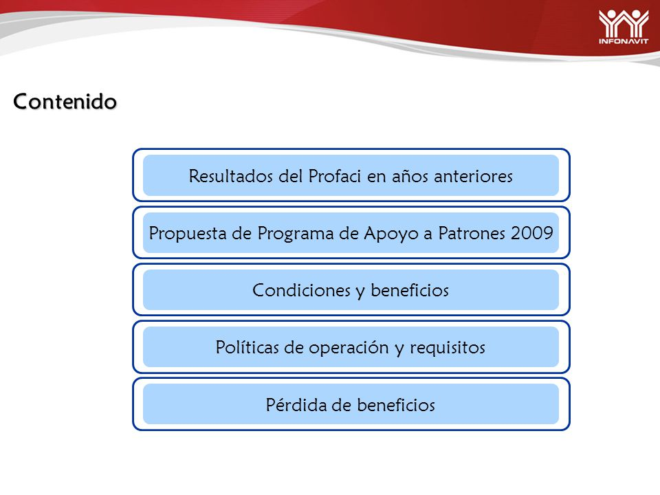 Contenido Resultados del Profaci en años anteriores Propuesta de Programa de Apoyo a Patrones 2009 Condiciones y beneficios Políticas de operación y requisitos Pérdida de beneficios
