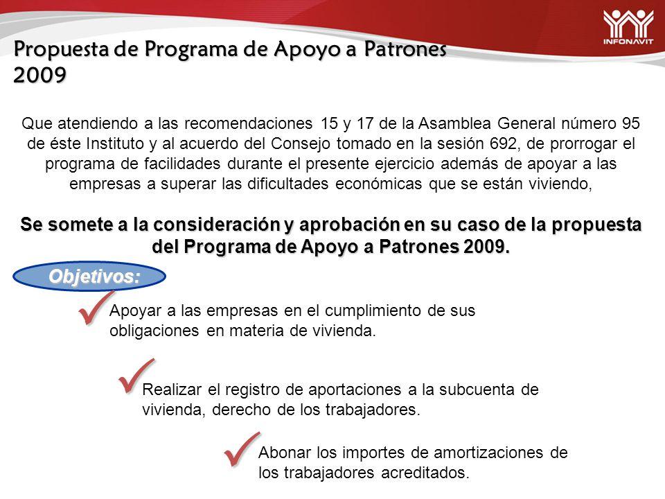 Propuesta de Programa de Apoyo a Patrones 2009 Que atendiendo a las recomendaciones 15 y 17 de la Asamblea General número 95 de éste Instituto y al ac