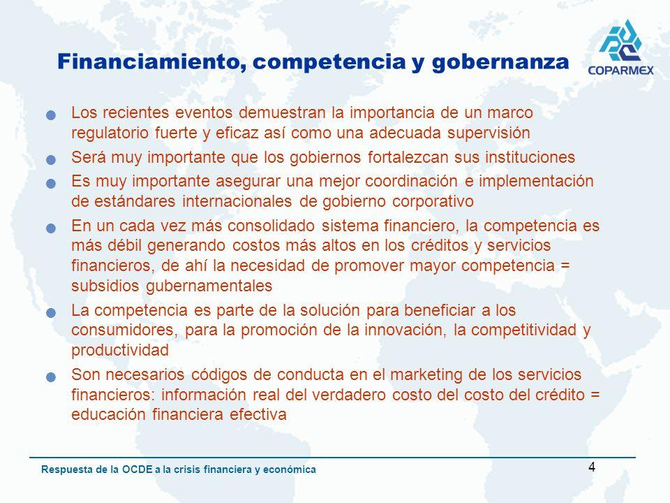 5 Respuesta de la OCDE a la crisis financiera y económica Crecimiento sustentable de largo plazo Mantener los mercados abiertos para el comercio y la inversión Promover el multilateralismo y desechar el proteccionismo Promover las negociaciones de la Ronda de Doha Es necesario aumentar el financiamiento público a las exportaciones Promover reformas estructurales en el ámbito macroeconómico, fiscal y laboral Mantener como prioridades en el presupuesto público el gasto en salud, educación e innovación Cuidar el riesgo de inflación a mediano plazo y el endeudamiento público Promover el uso eficiente de la energía: invertir en infraestructura e industria limpia