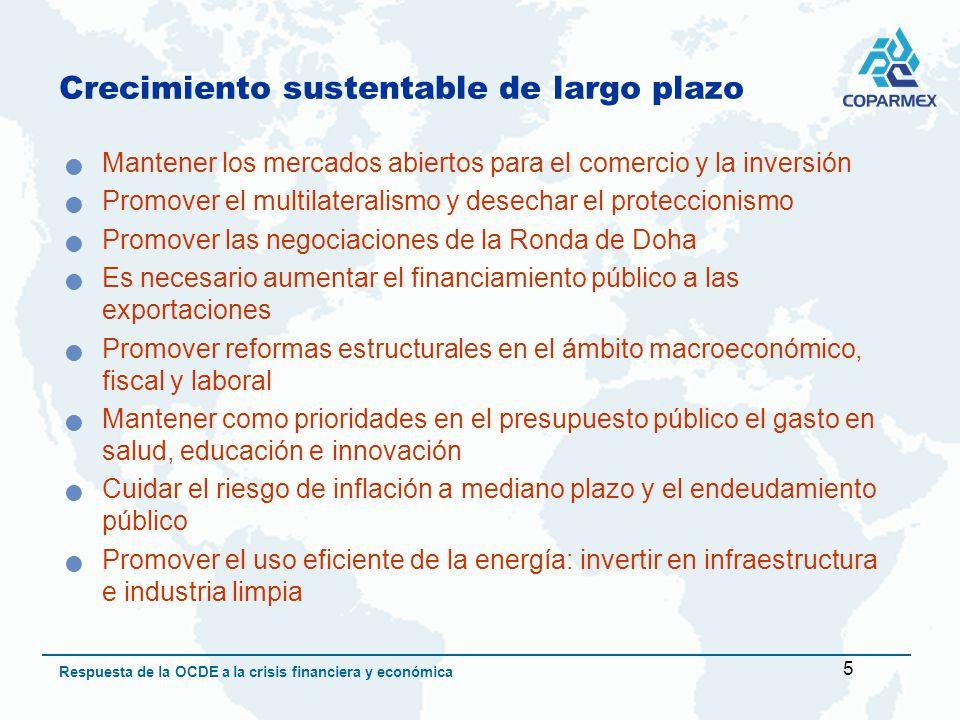 6 Respuesta de la OCDE a la crisis financiera y económica Crecimiento sustentable de largo plazo Innovación como un instrumento clave para promover la productividad y el crecimiento sustentable = estímulo a la investigación y al desarrollo Apoyo a los países menos desarrollados dado que la crisis impactará los mercados agrícolas y el precio de los alimentos Las intervenciones estatales deben ser temporales, dirigidas y tener una estrategia de salida del sector privado