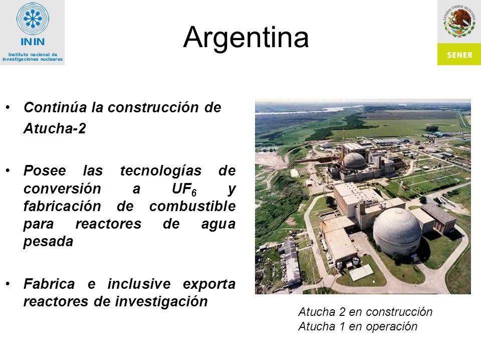 Argentina Continúa la construcción de Atucha-2 Posee las tecnologías de conversión a UF 6 y fabricación de combustible para reactores de agua pesada Fabrica e inclusive exporta reactores de investigación Atucha 2 en construcción Atucha 1 en operación