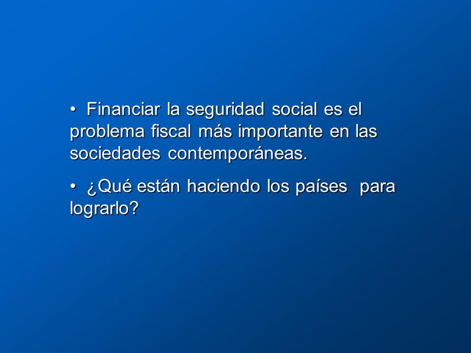 Financiar la seguridad social es el problema fiscal más importante en las sociedades contemporáneas.