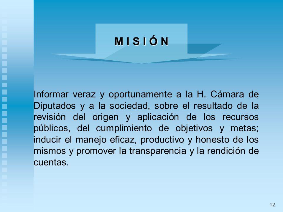 Informar veraz y oportunamente a la H. Cámara de Diputados y a la sociedad, sobre el resultado de la revisión del origen y aplicación de los recursos