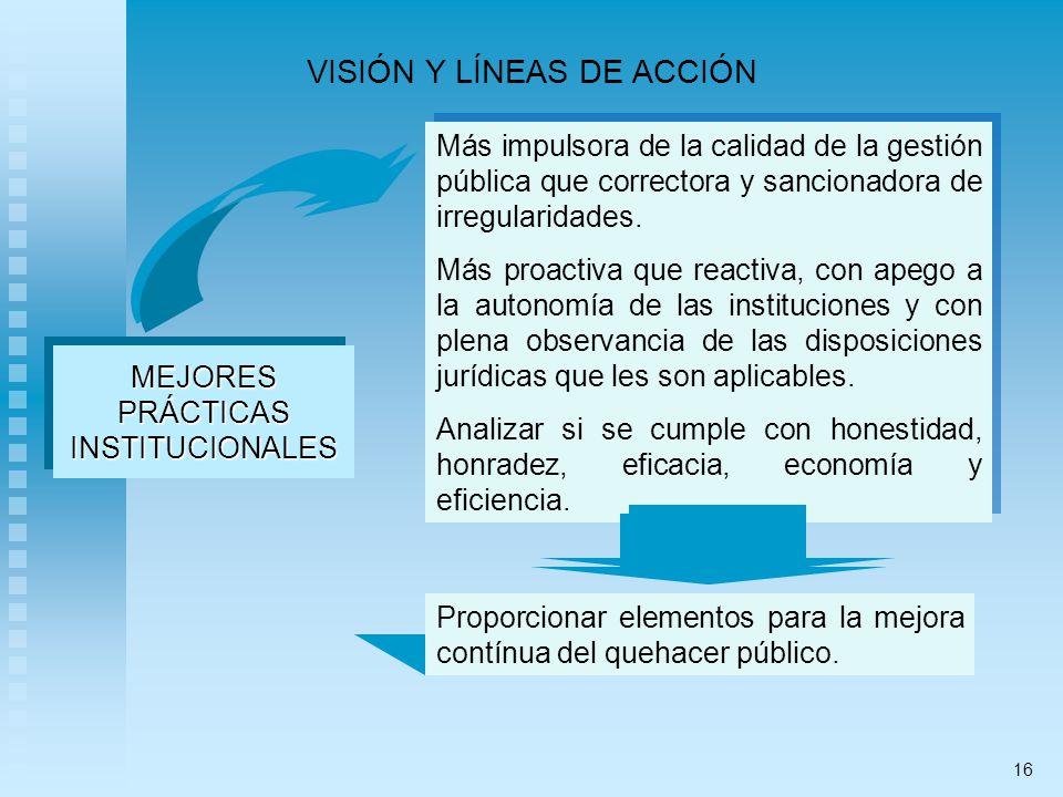 VISIÓN Y LÍNEAS DE ACCIÓN MEJORESPRÁCTICASINSTITUCIONALESMEJORESPRÁCTICASINSTITUCIONALES Más impulsora de la calidad de la gestión pública que correctora y sancionadora de irregularidades.