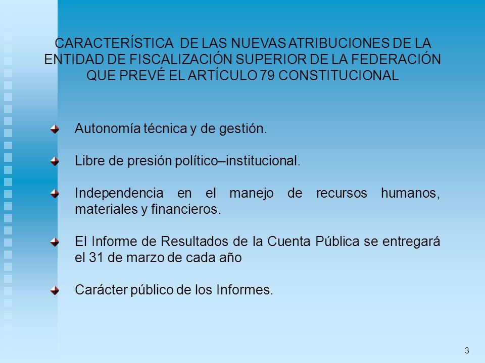CARACTERÍSTICA DE LAS NUEVAS ATRIBUCIONES DE LA ENTIDAD DE FISCALIZACIÓN SUPERIOR DE LA FEDERACIÓN QUE PREVÉ EL ARTÍCULO 79 CONSTITUCIONAL Autonomía técnica y de gestión.